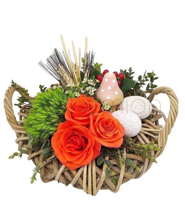Πασχαλινή φωλιά με λουλούδια