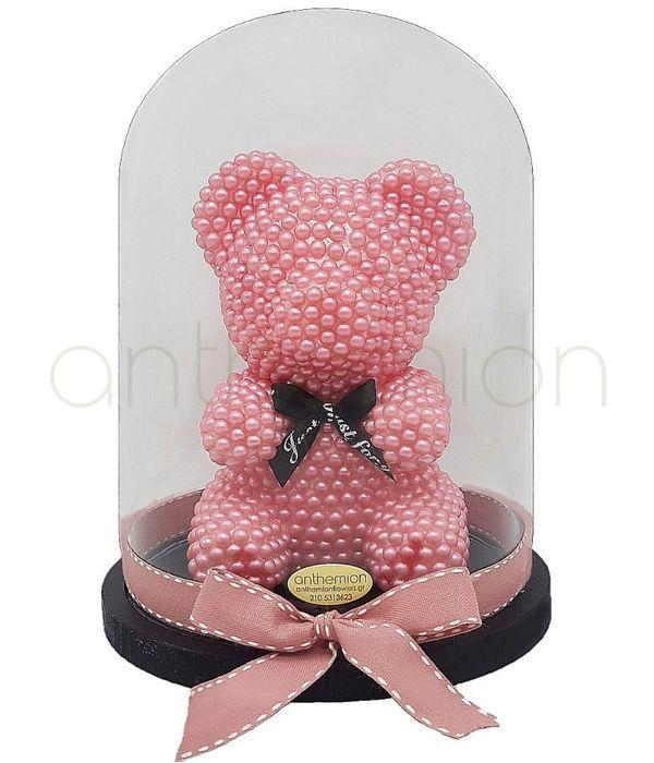 Αρκουδάκι με ροζ πέρλες 25εκ.