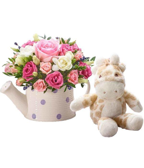 Ποτιστήρι με λουλούδια και λούτρινο για κοριτσάκι