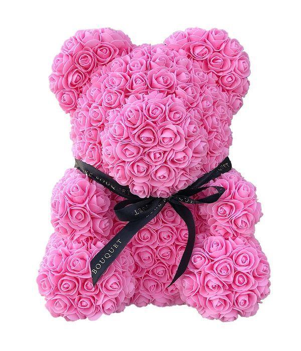 Ροζ αρκουδάκι με συνθετικά τριαντάφυλλα 45 εκ.
