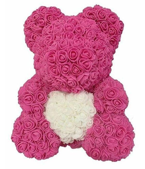 Ροζ αρκούδας Γίγας με συνθετικά τριαντάφυλλα και καρδιά 70εκ