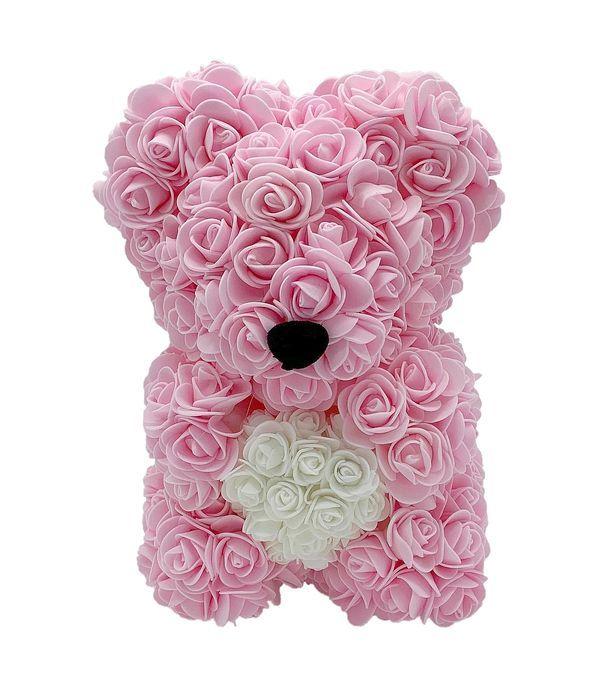 Ροζ - λευκό αρκουδάκι από τριαντάφυλλα αφρού