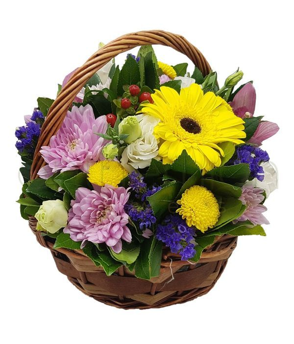 Basket filled with colorful flowers