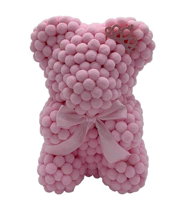 Ροζ αρκουδάκι με πον πον 25εκ