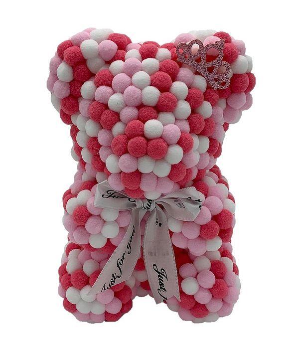 Λευκό, κόκκινο και ροζ αρκουδάκι με πον πον 25εκ