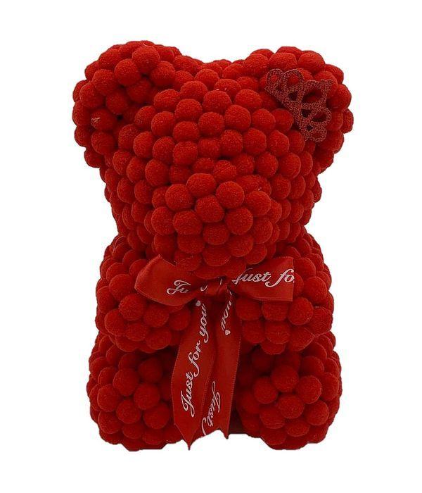 Κόκκινο αρκουδάκι με πον πον 25εκ