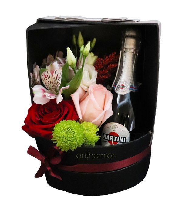 Κυλιόμενο κουτί με λουλούδια και Asti Martini 200ml