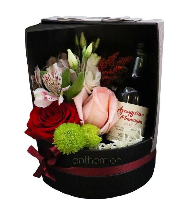 Κυλιόμενο κουτί με λουλούδια και ένα κρασί 200ml