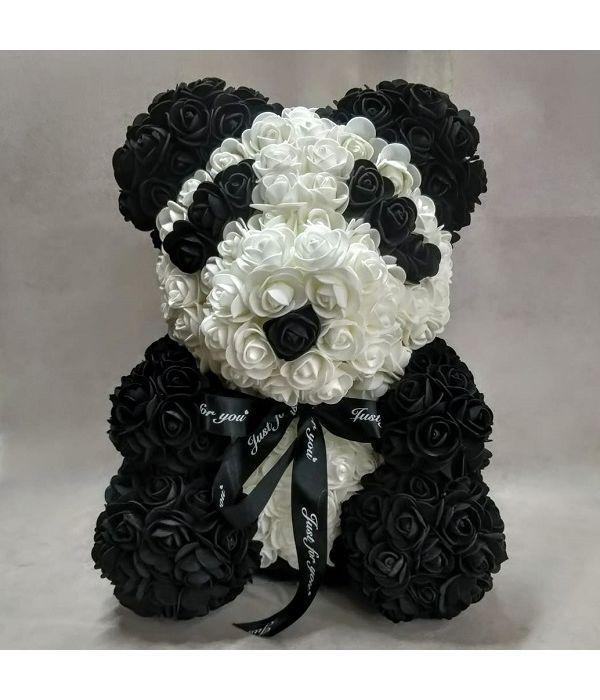 """Αρκουδάκι Panda από συνθετικά τριαντάφυλλα 40 cm/15.7"""""""