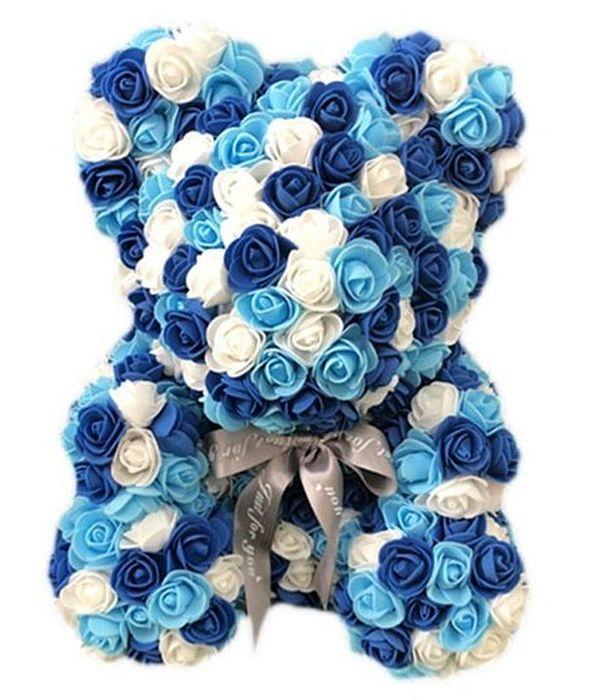 """Αρκουδάκι από συνθετικά τριαντάφυλλα λευκό-μπλε-σιελ ΜΕΣΑΙΟ - 40 cm/15.7"""""""