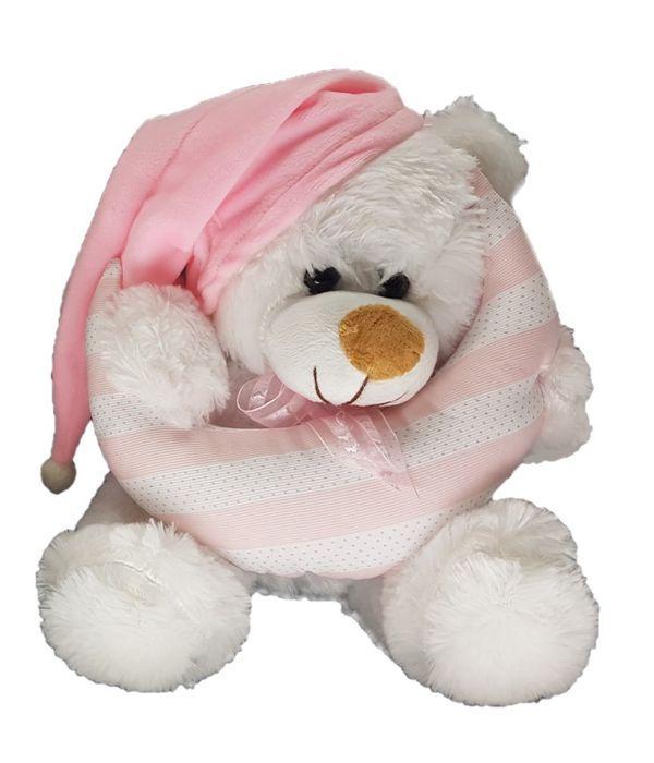 Pink teddy bear holding a moon 25cm