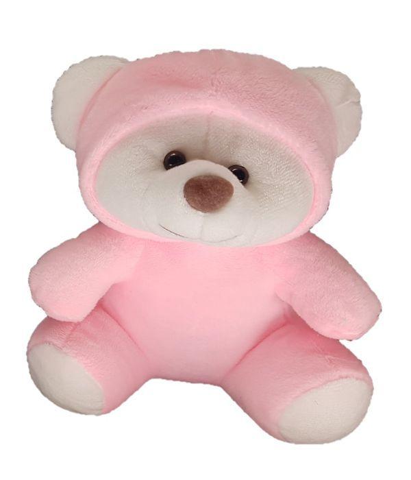 Ροζ αρκουδάκι με σκουφάκι 18 εκ.