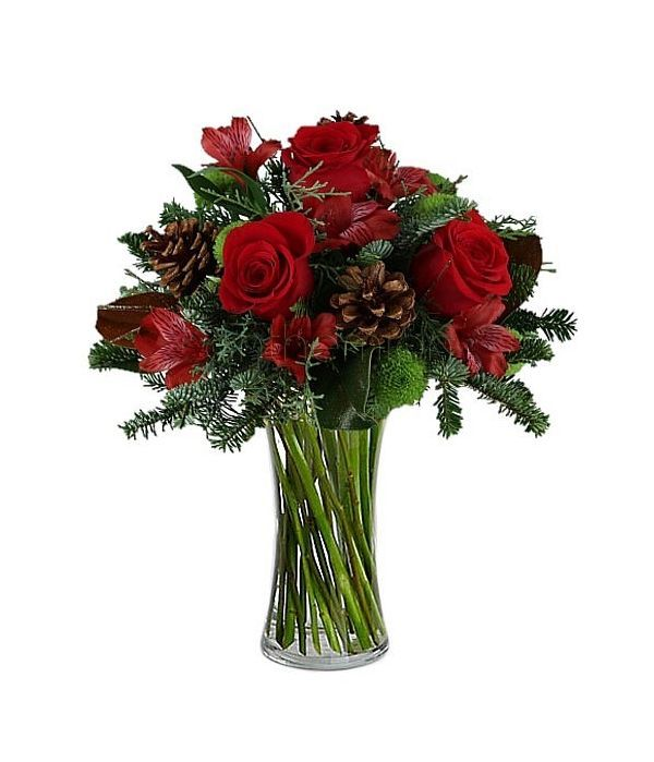 Red flowers with pinecones
