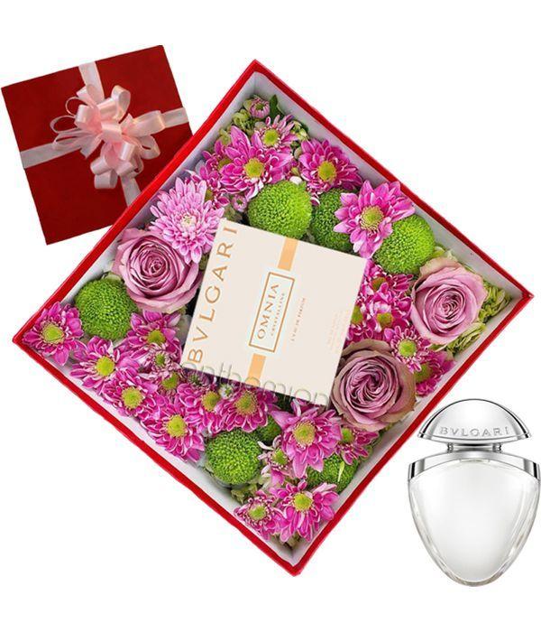 Gift box with flowers and BVLGARI perfume