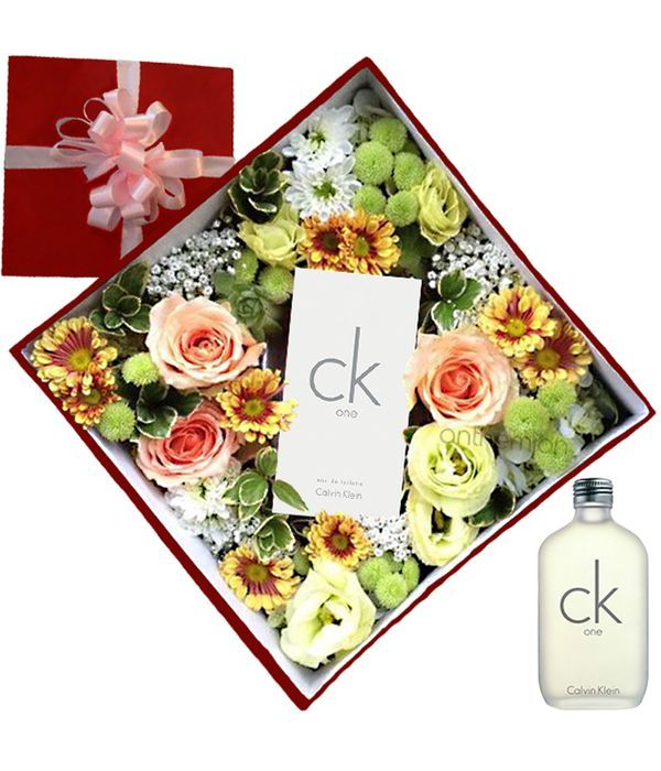 Gift box with flowers and Calvin Klein CK perfume