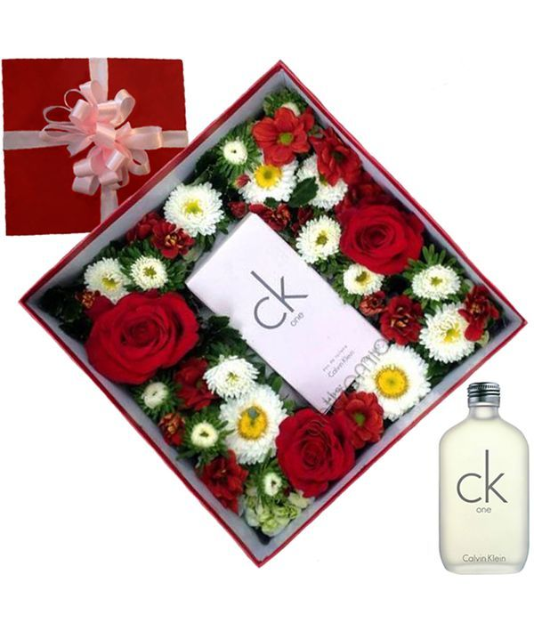 White and red flowers with Calvin Klein perfume