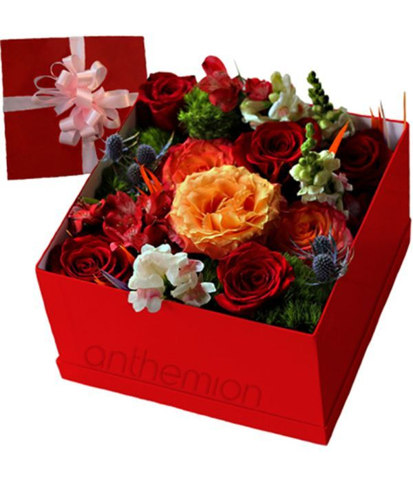 Bright flowers in gift box