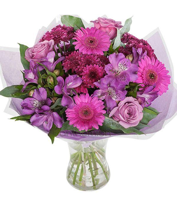 Μπουκέτο με λιλά/μωβ και φούξια λουλούδια