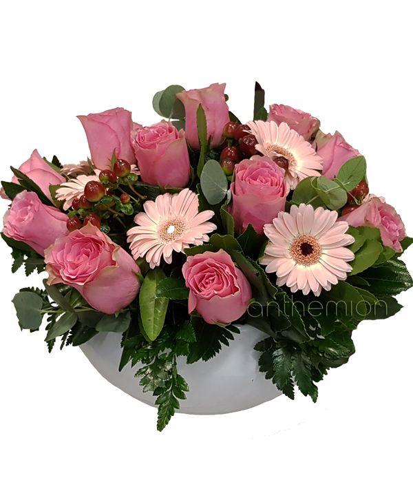 Γλυκιά φούξια/ροζ σύνθεση σε κεραμικό