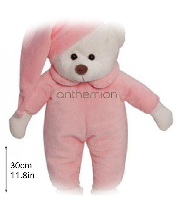 Αρκουδάκι με σκουφάκι ροζ 30εκ