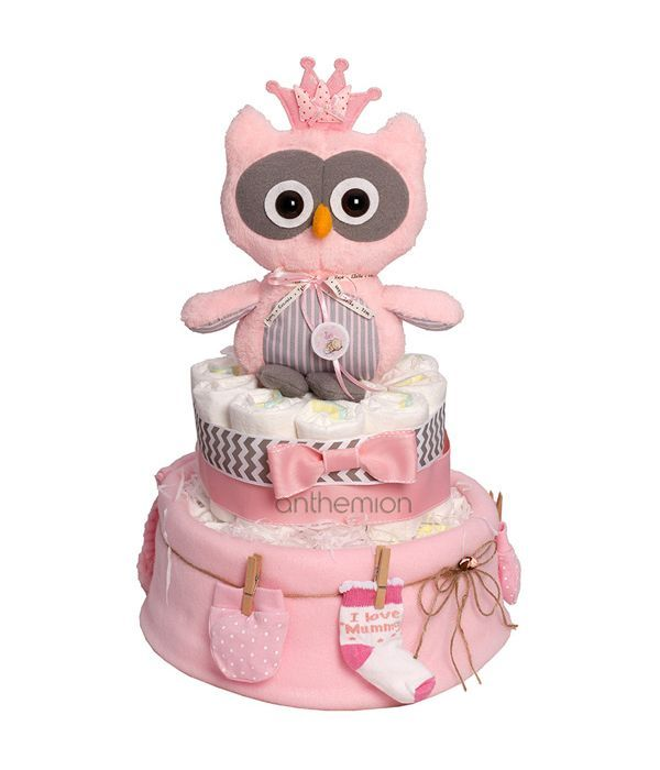 Diapercake with pink soft toy owl