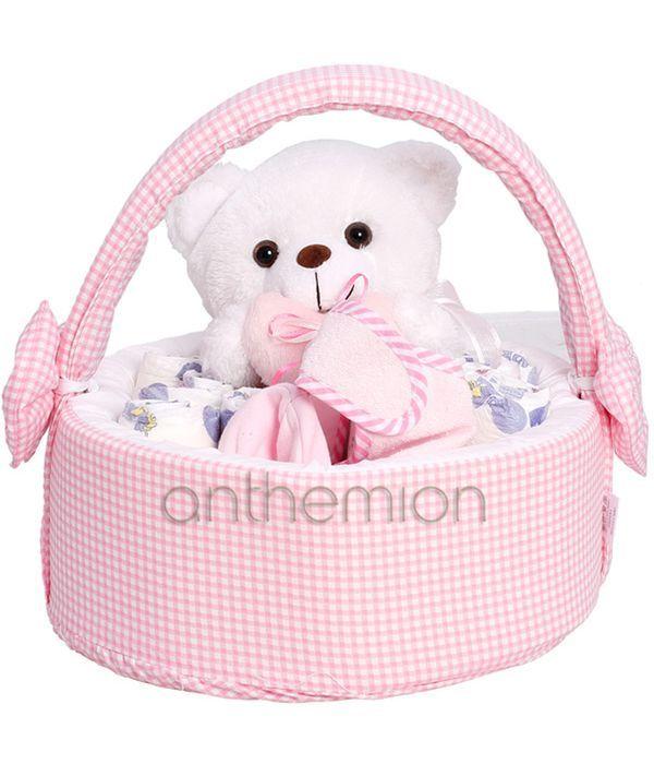 Diapercake in pink basket
