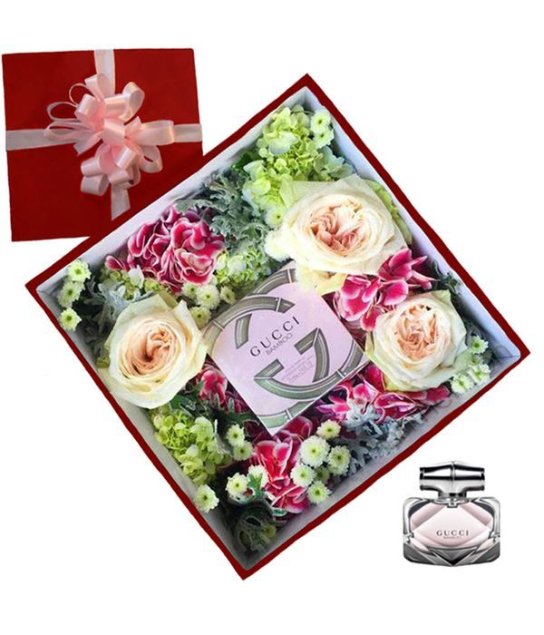 Floral arrangement with GUCCI BAMBOO perfume
