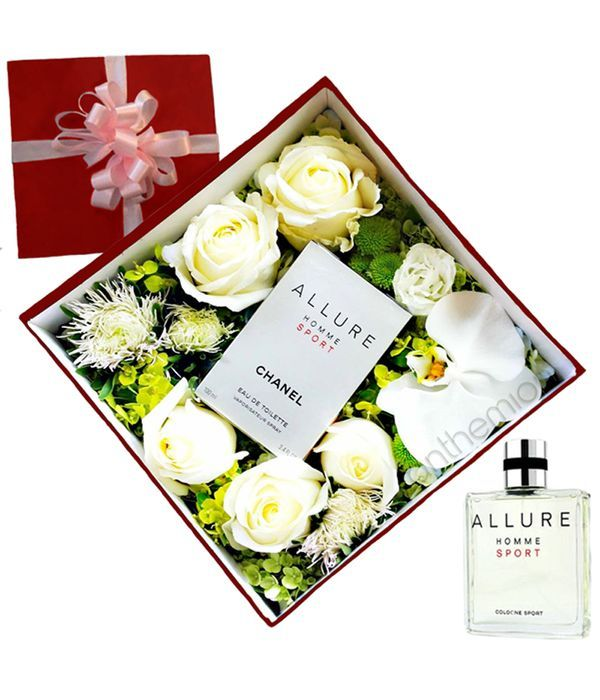 White flowers and ALLURE HOMME SPORT for him