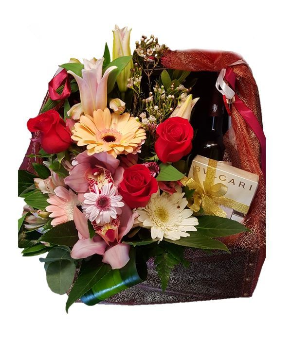 Floral gift with wine and Bvlgari perfume