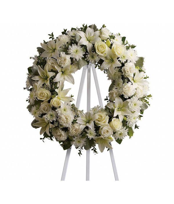 Στεφάνι κηδείας σε λευκές αποχρώσεις