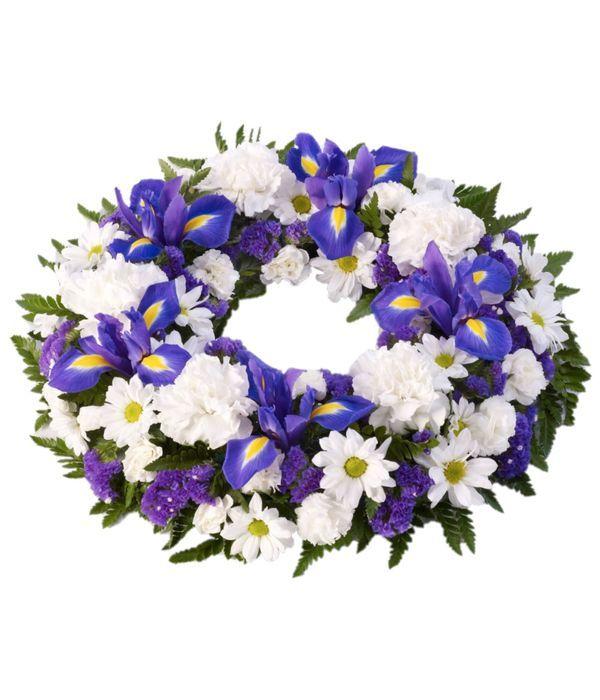 Στεφάνι με λευκά και μπλε λουλούδια εποχής