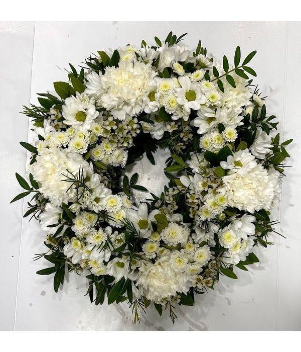 Λευκό Πρωτομαγιάτικο Στεφάνι με λουλούδια