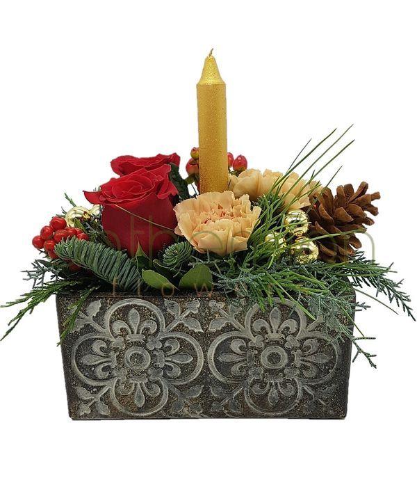 Σύνθεση Χριστουγέννων με χρυσό κερί