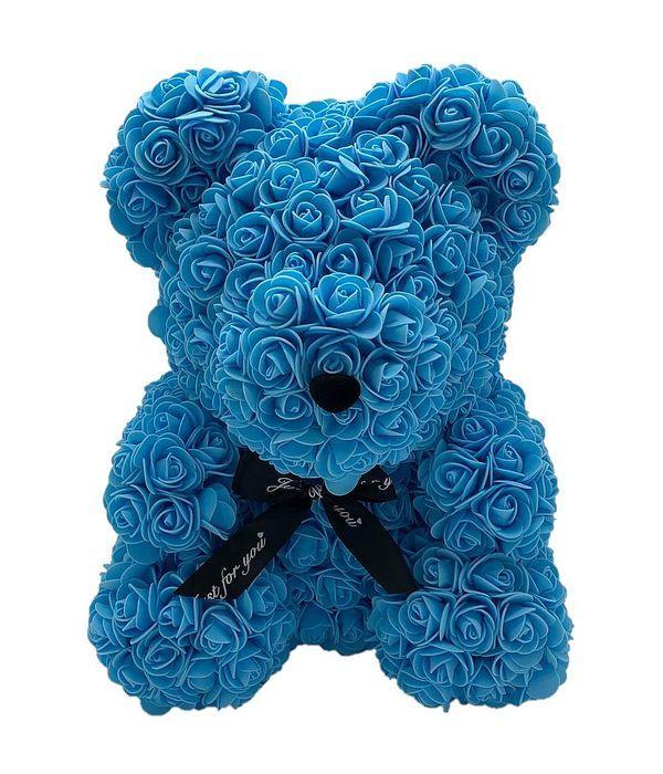 Σιέλ αρκουδάκι με συνθετικά τριαντάφυλλα 45 εκ.
