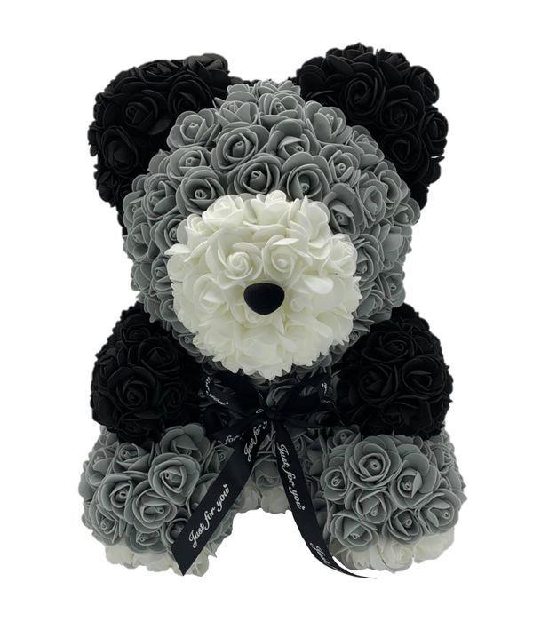Αρκουδάκι με συνθετικά τριαντάφυλλα σε γκρι/μαύρο/λευκό 45 εκ.
