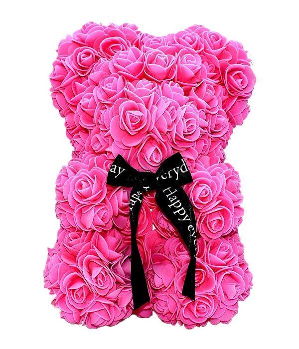 Ροζ αρκουδάκι με συνθετικά τριαντάφυλλα 25 εκ.