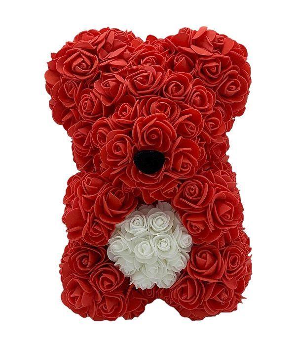 Κόκκινο αρκουδάκι με λευκή καρδιά 25 εκ.