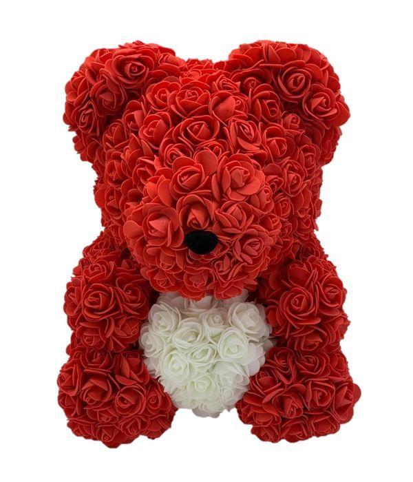 Κόκκινο αρκουδάκι με λευκή καρδιά 45 εκ.