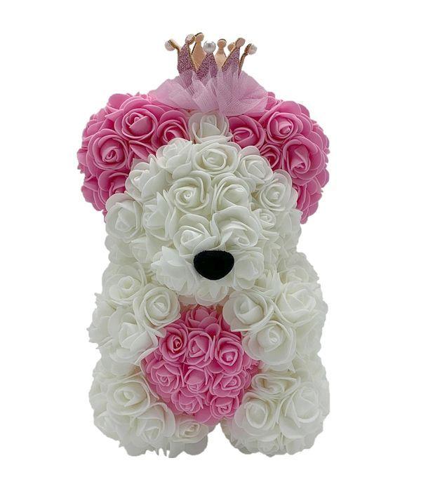 Λευκό/ροζ αρκουδάκι με συνθετικά τριαντάφυλλα 25 εκ.