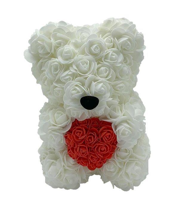 Λευκό αρκουδάκι με κόκκινη καρδιά 25 εκ.