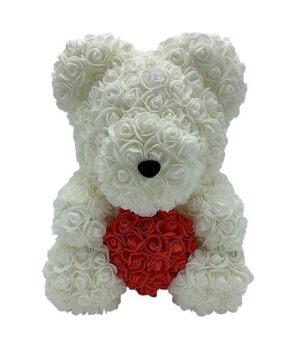 Λευκό αρκουδάκι με κόκκινη καρδιά 45 εκ.