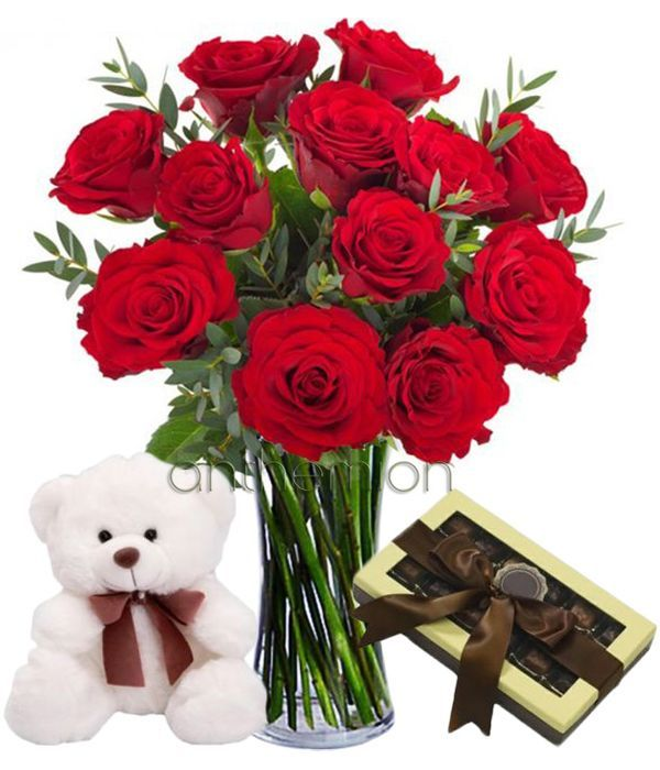 12 red roses with chocolates and teddy bear