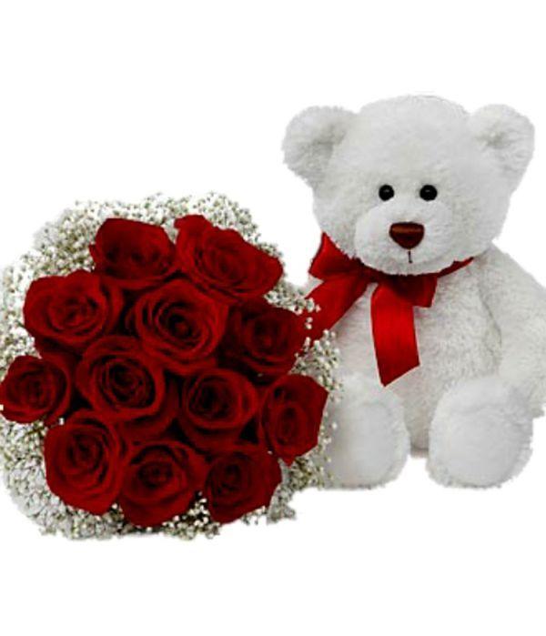 Αρκούδος και μπουκέτο με κόκκινα τριαντάφυλλα