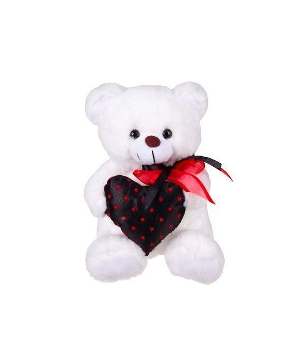 White teddy bear with heart 20cm