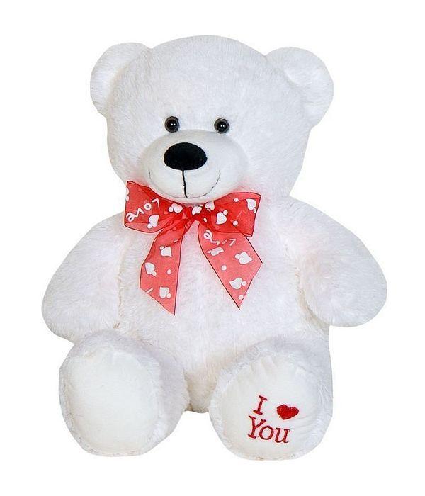 Αρκουδάκι Λούτρινο λευκό i love you 50 εκ.
