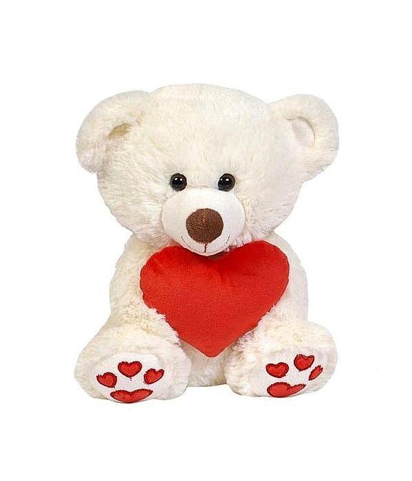 Λούτρινο Λευκό Αρκουδάκι Με Κόκκινη Καρδιά 25 εκ