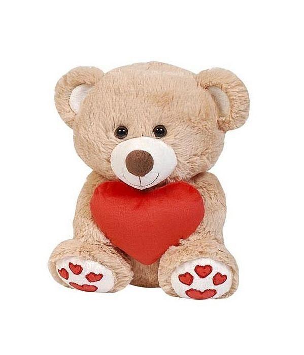 Λούτρινο Καφέ Αρκουδάκι Με Κόκκινη Καρδιά 25 Εκ